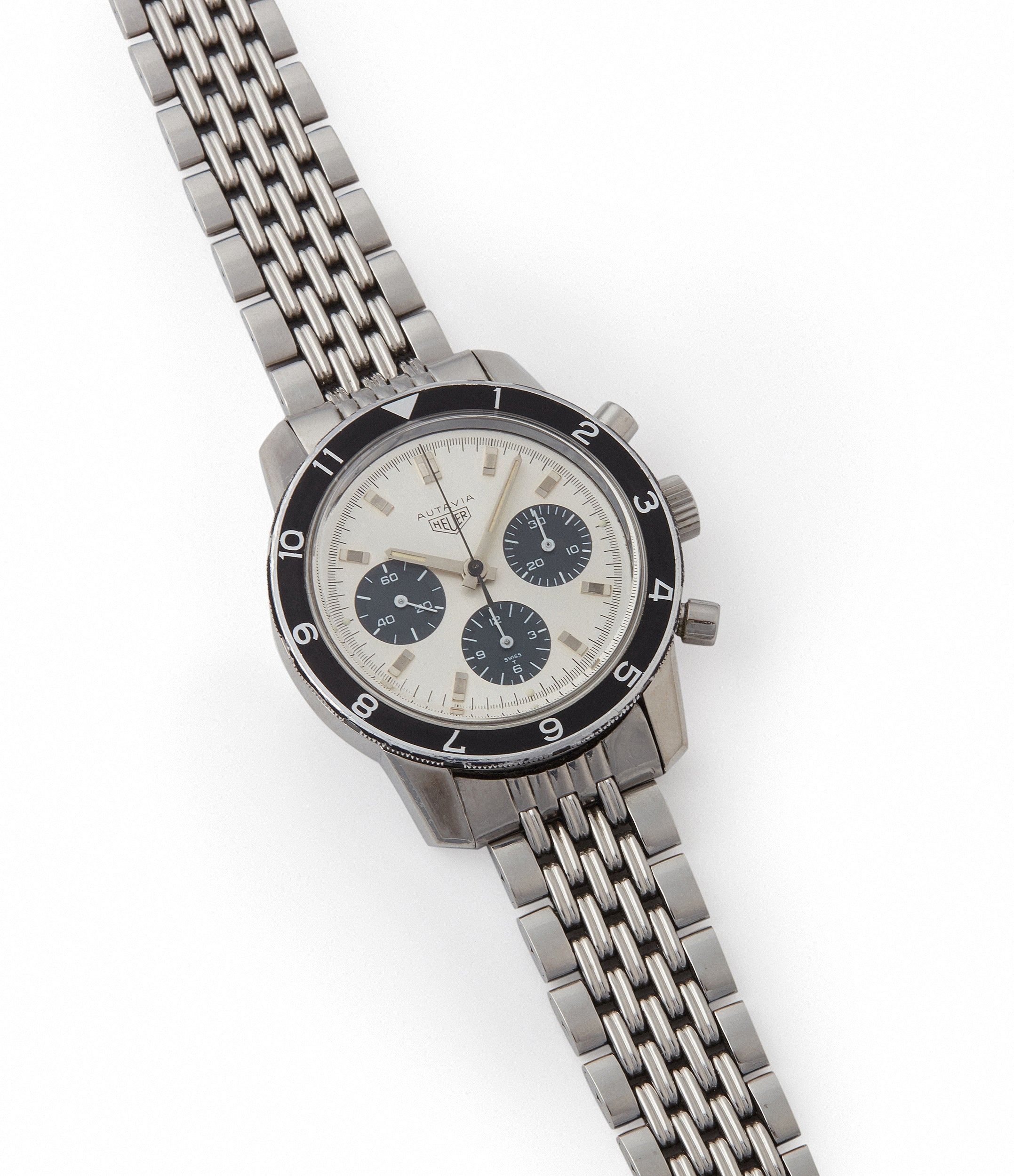 selling vintage Heuer Autavia 2446 C SN silver dial rare chronograph test dial Valjoux 72 watch