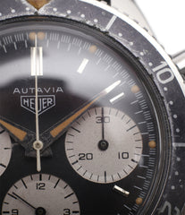 buy unrestored vintage Heuer Autavia 2446 second execution vintage steel chronograph watch online at A Collected Man London