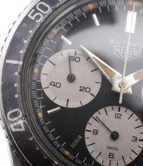 for sale vintage Heuer Autavia 2446 second execution vintage steel chronograph watch online at A Collected Man London