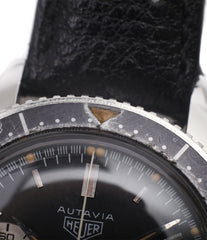 original lume pot Heuer Autavia 2446 second execution vintage steel chronograph watch online at A Collected Man London