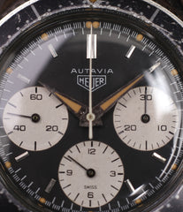 buy vintage chronograph Heuer Autavia 2446 second execution vintage steel watch online at A Collected Man London