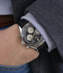 buy vintage chronograph wristwatch Heuer Autavia 2446 second execution vintage steel chronograph watch online at A Collected Man London
