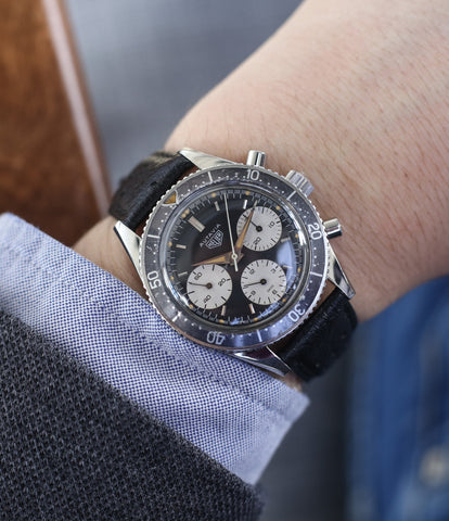 on the wrist Heuer Autavia 2446 second execution vintage steel chronograph watch online at A Collected Man London