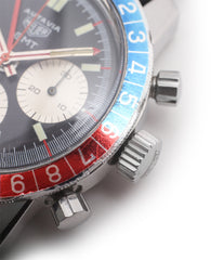 rotating bezel Heuer Autavia GMT 2446C vintage steel chronograph watch online at A Collected Man London