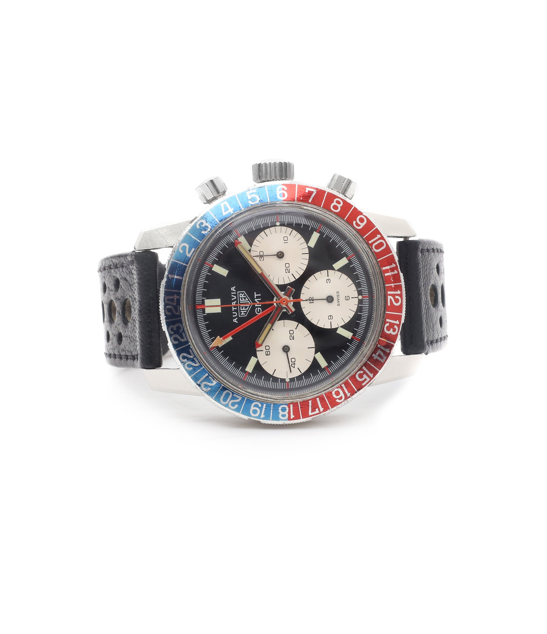 for sale Heuer Autavia GMT 2446C vintage steel chronograph watch online at A Collected Man London