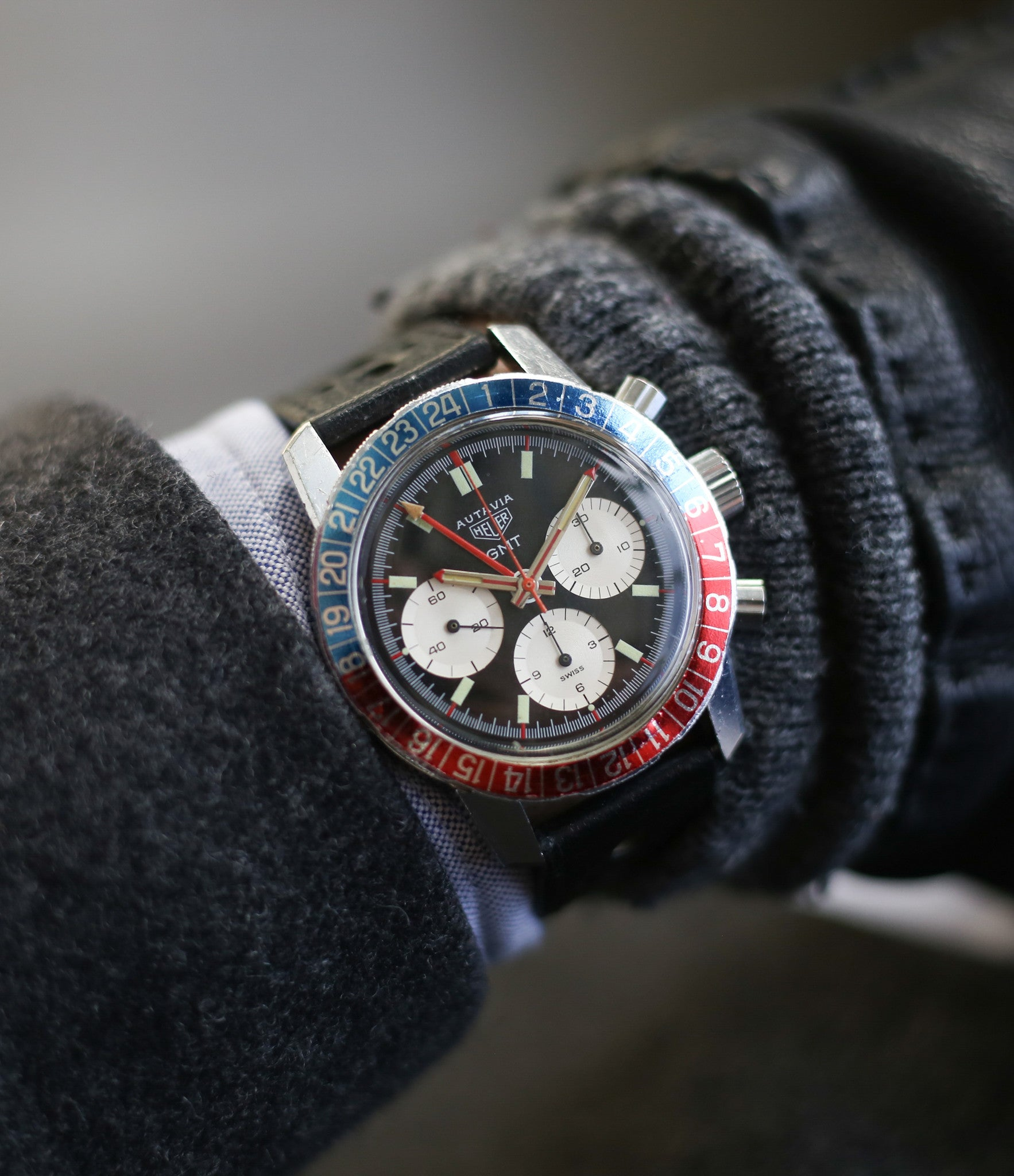 on the wrist vintage Heuer Autavia GMT 2446C vintage steel watch online at A Collected Man London