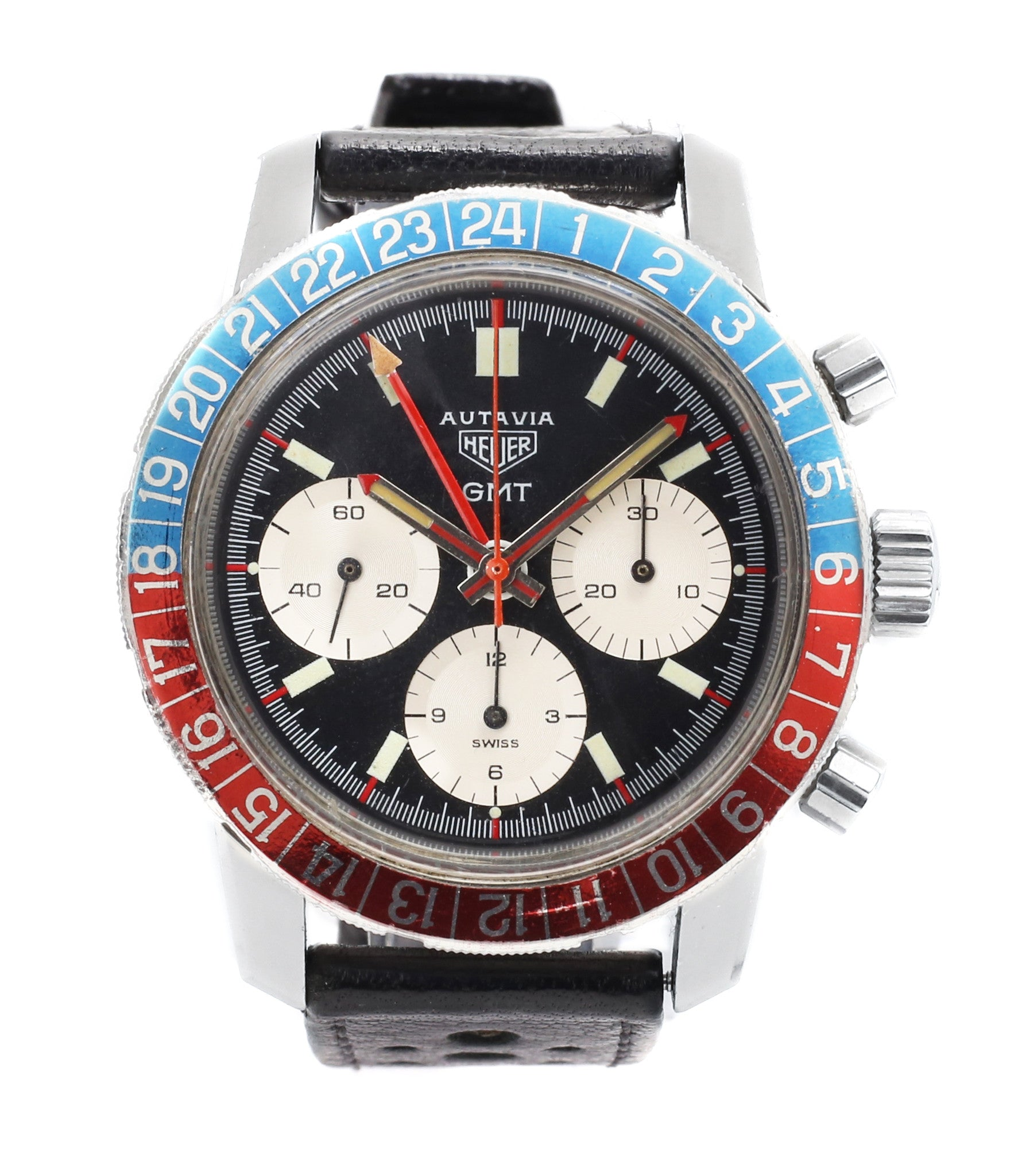 buy Heuer Autavia GMT 2446C vintage chronograph steel watch online at A Collected Man London