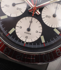 unrestored dial Heuer Autavia GMT 2446C vintage steel chronograph watch online at A Collected Man London