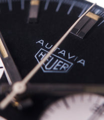 Heuer Autavia Rindt 2446 black dial chronograph rare steel Valjoux 72 column-wheel movement watch for sale