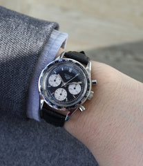 on the wrist Heuer Autavia Rindt 2446 vintage steel chronograph sports watch online at A Collected Man London