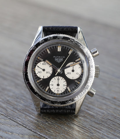 buy rare vintage watch Heuer Autavia Rindt 2446 steel chronograph sports online at A Collected Man London
