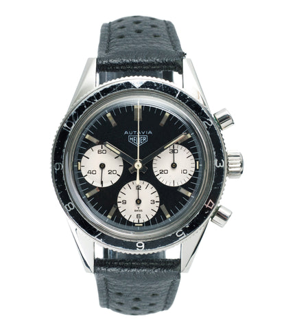 buy Heuer Autavia Rindt 2446 Valjoux 72 manual-winding steel sport chronograph watch for sale online at A Collected Man London UK vintage rare watch specialist