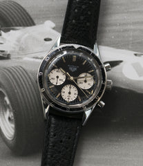 2446 Autavia Heuer Rindt 2446 Valjoux 72 manual-winding steel sport chronograph watch for sale online at A Collected Man London UK vintage rare watch specialist