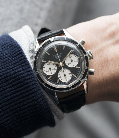 on the wrist Heuer Autavia Rindt 2446 Valjoux 72 manual-winding steel sport chronograph watch for sale online at A Collected Man London UK vintage rare watch specialist