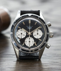 vintage racing Heuer Autavia Rindt 2446 Valjoux 72 manual-winding steel sport chronograph watch for sale online at A Collected Man London UK vintage rare watch specialist