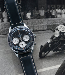 vintage Heuer Autavia 2446 Second Execution Valjoux 72 rare first-owner chronograph steel racing sport watch for sale online at A Collected Man London UK rare watch specilaist
