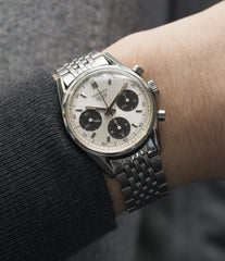 on the wrist vintage Heuer Carrera 2447SND panda dial steel sport watch online at A Collected Man London UK specialist of rare vintage watches