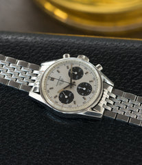 rare Heuer Carrera 2447SND panda dial steel sport watch online at A Collected Man London UK specialist of rare vintage watches