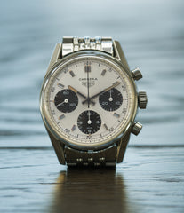buying vintage Heuer Carrera 2447SND panda dial steel sport watch online at A Collected Man London UK specialist of rare vintage watches