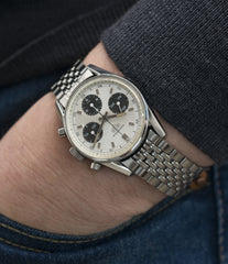 vintage sports wristwatch Heuer Carrera 2447SND panda dial steel sport watch online at A Collected Man London UK specialist of rare vintage watches