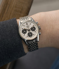 men's cool vintage wristwatch Heuer Carrera 2447SND panda dial steel sport watch online at A Collected Man London UK specialist of rare vintage watches