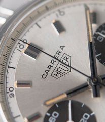 buy panda dial Heuer Carrera 2447SND vintage steel sport watch online at A Collected Man London UK specialist of rare vintage watches