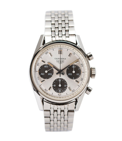 buy vintage Heuer Carrera 2447SND panda dial steel sport watch online at A Collected Man London UK specialist of rare vintage watches