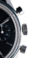 chronograph two-register black dial Heuer Carrera 3647N chronograph steel watch tritium black dial for sale at A Collected Man London
