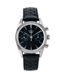 buy vintage Heuer Carrera 3647N chronograph steel watch tritium black dial for sale at A Collected Man London