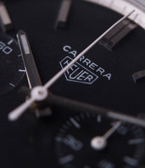 rare black dial vintage Heuer Carrera 3647N chronograph steel watch tritium black dial for sale at A Collected Man London