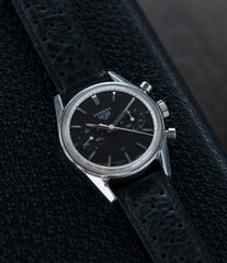 black dial vintage Heuer Carrera 3647N chronograph steel watch tritium selling at A Collected Man London