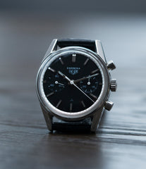 vintage Heuer Carrera 3647N chronograph steel watch tritium black dial for sale at A Collected Man London