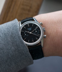 on the wrist vintage Heuer Carrera 3647N chronograph steel watch tritium black dial for sale at A Collected Man London