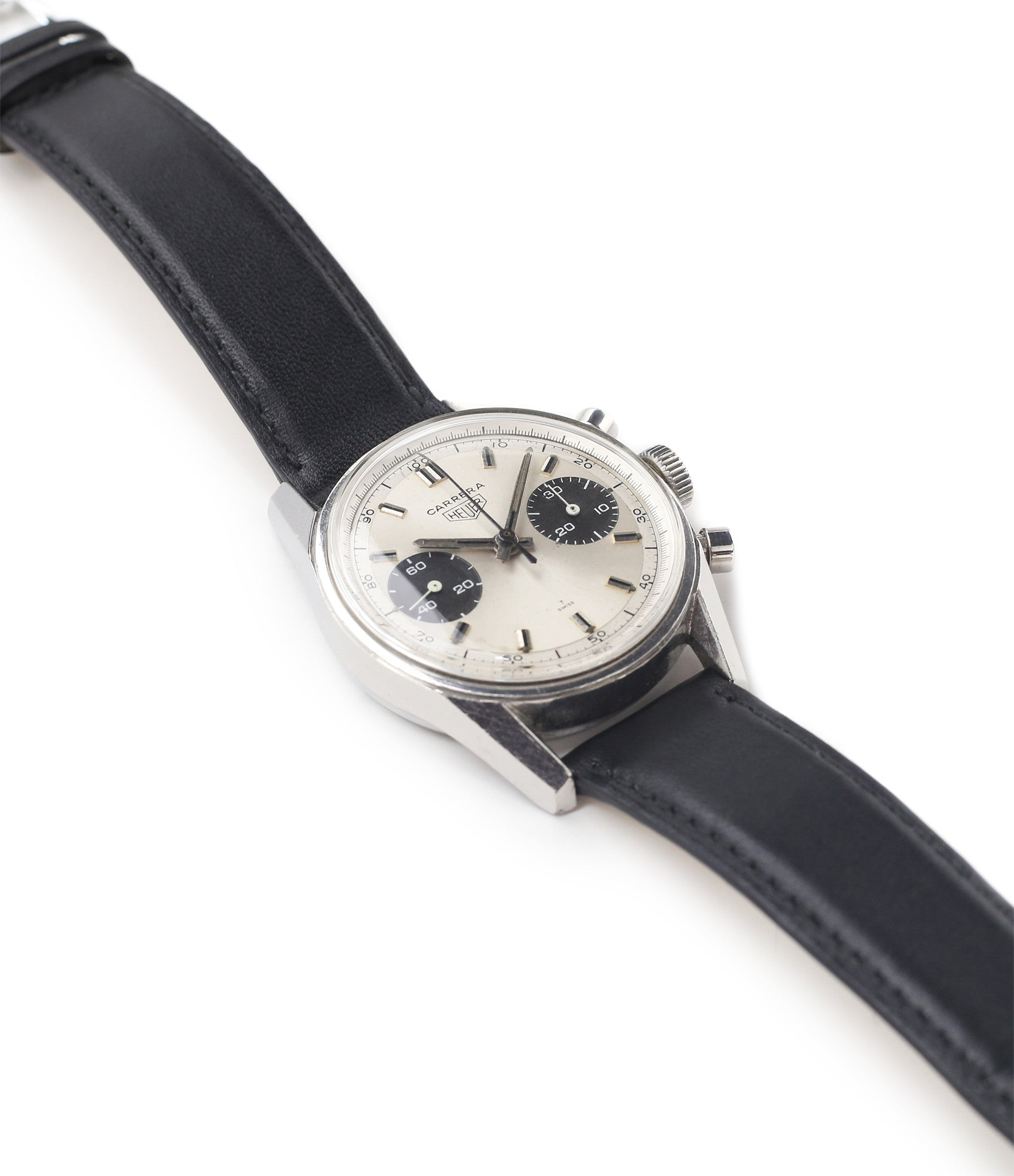 selling Heuer Carrera 7753SND vintage sports watch panda dial online at A Collected Man