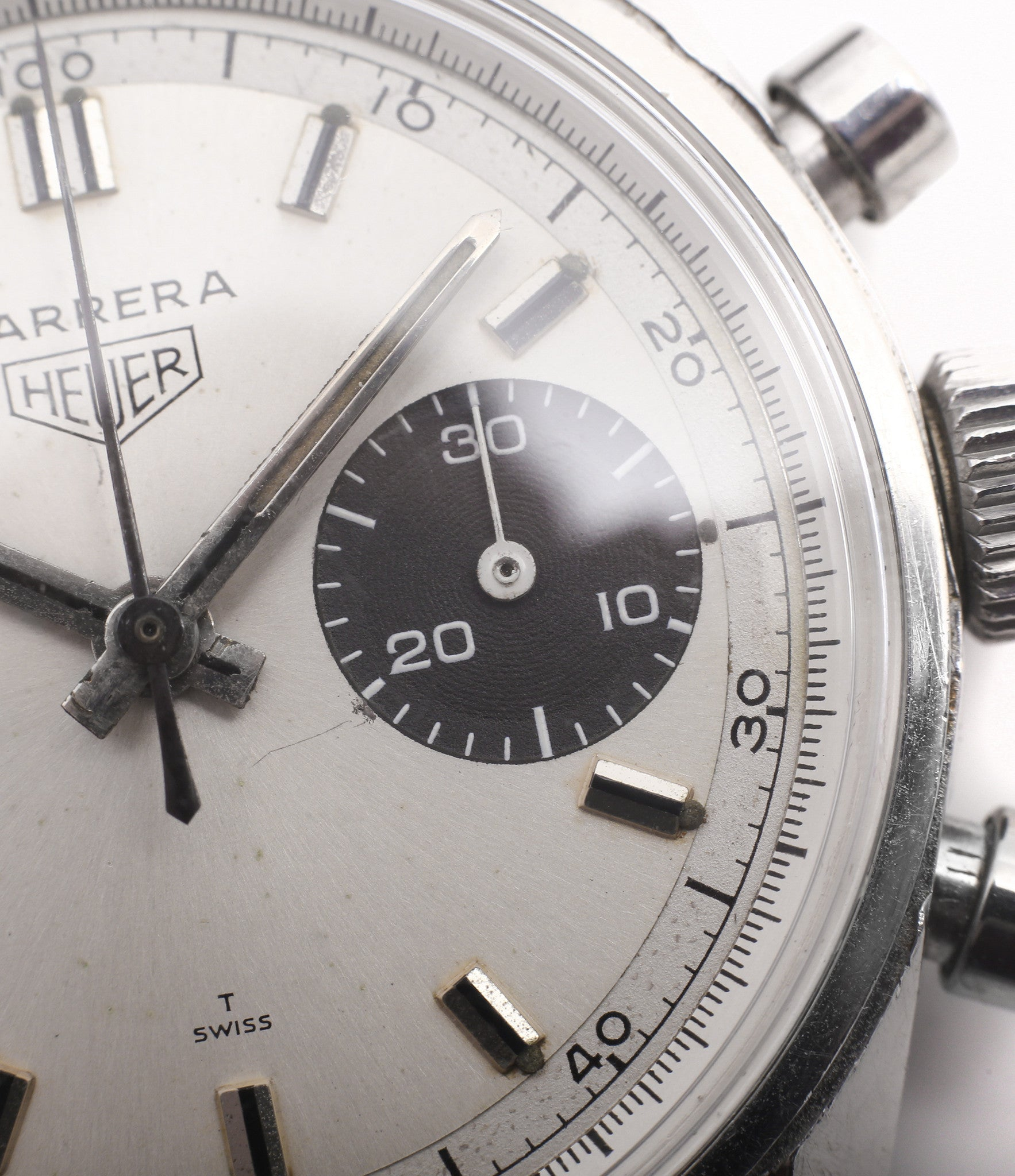 white dial black sub Heuer Carrera 7753SND vintage sports watch panda dial online at A Collected Man