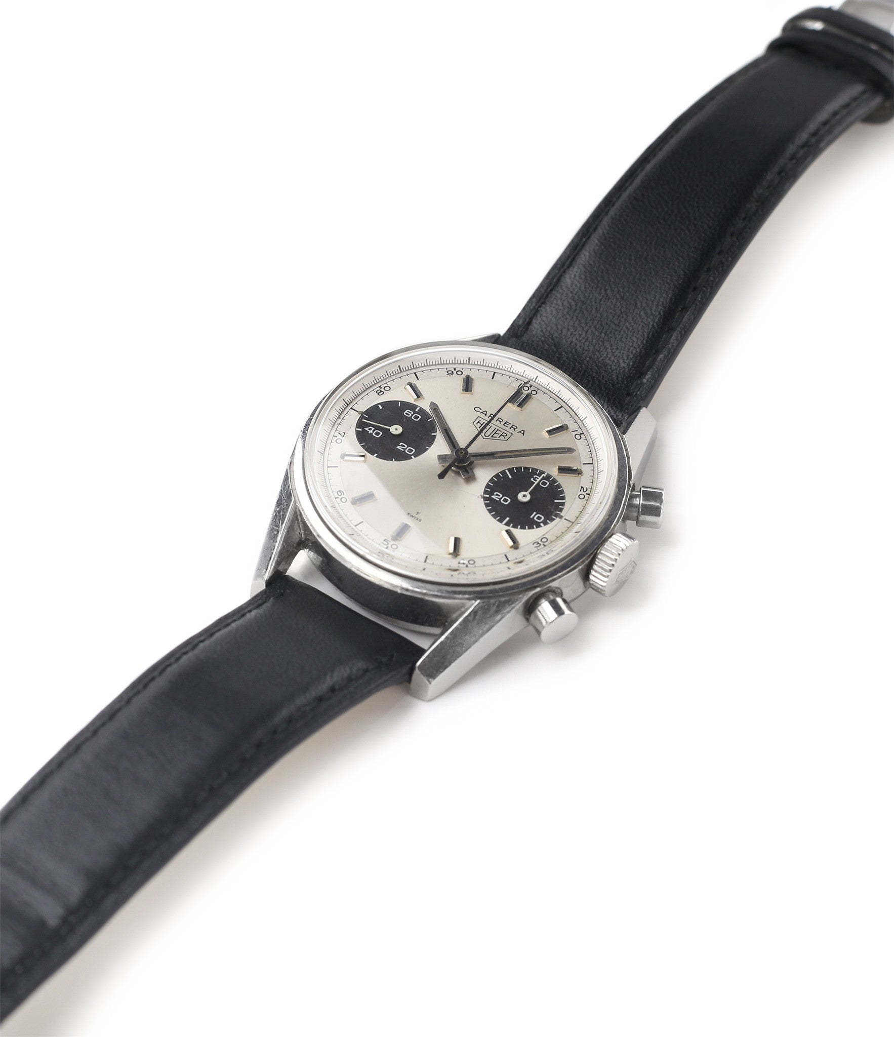 for sale Heuer Carrera 7753SND vintage sports watch panda dial online at A Collected Man