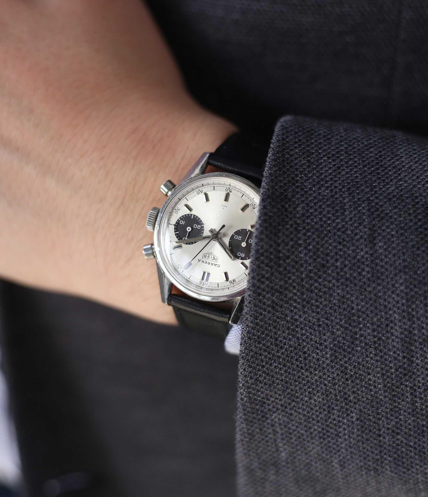 Heuer Carrera 7753SND vintage chronograph sports watch panda dial online at A Collected Man