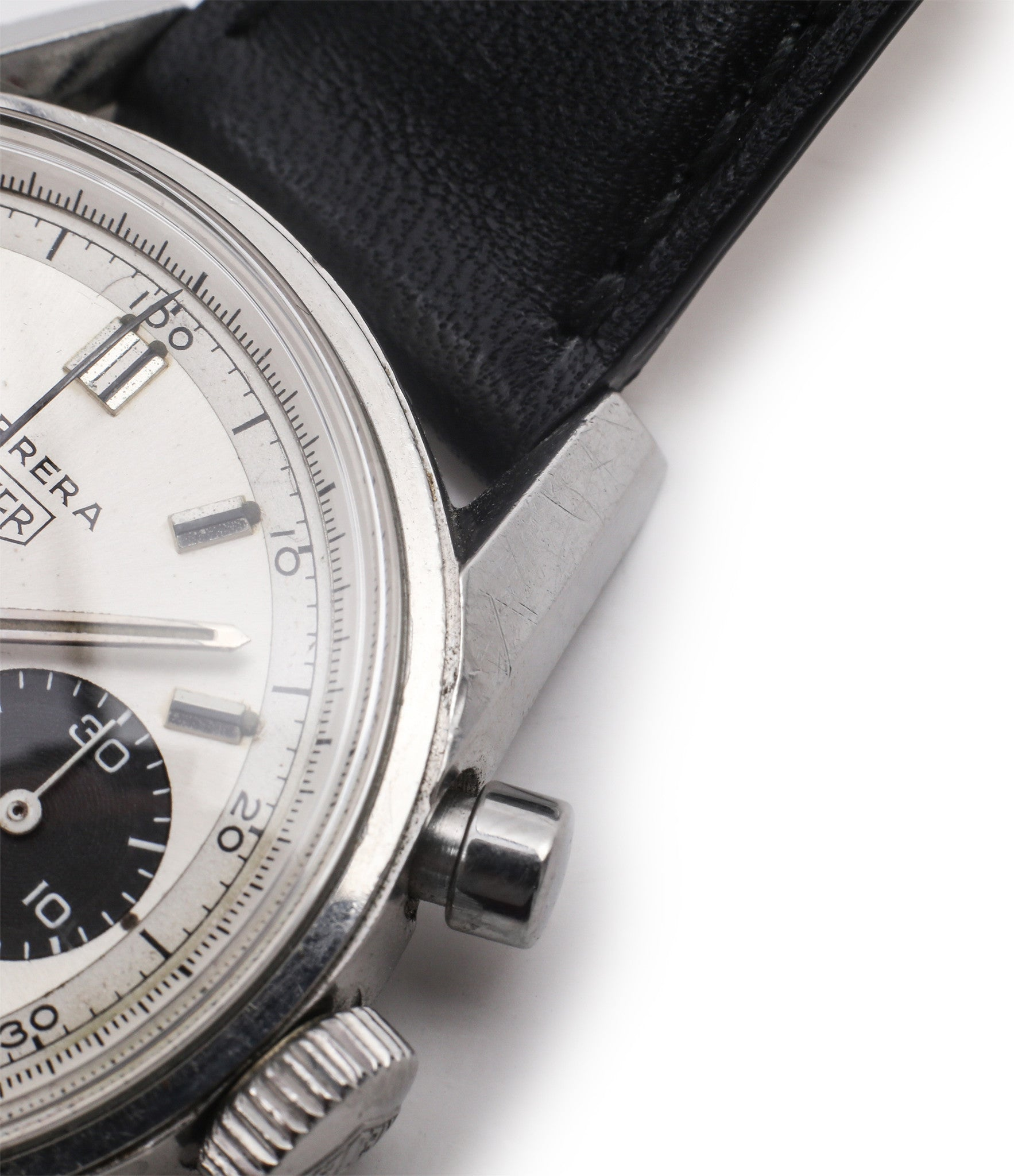 steel vintage chronograph Heuer Carrera 7753SND vintage sports watch panda dial online at A Collected Man for sale