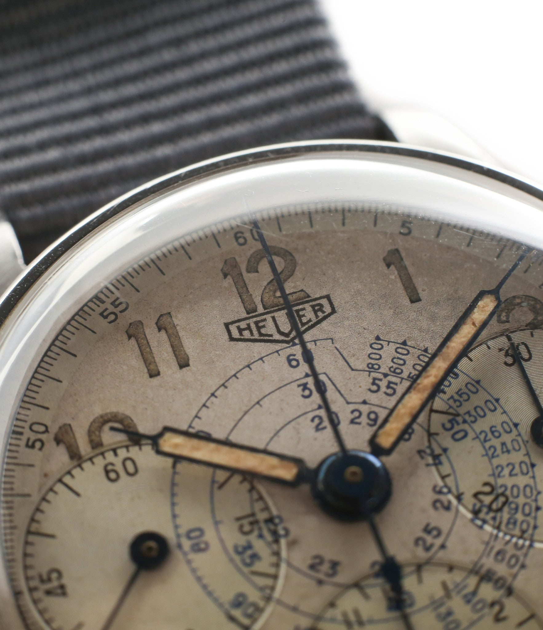 syringe hand vintage Heuer Chronograph steel watch online at A Collected Man London