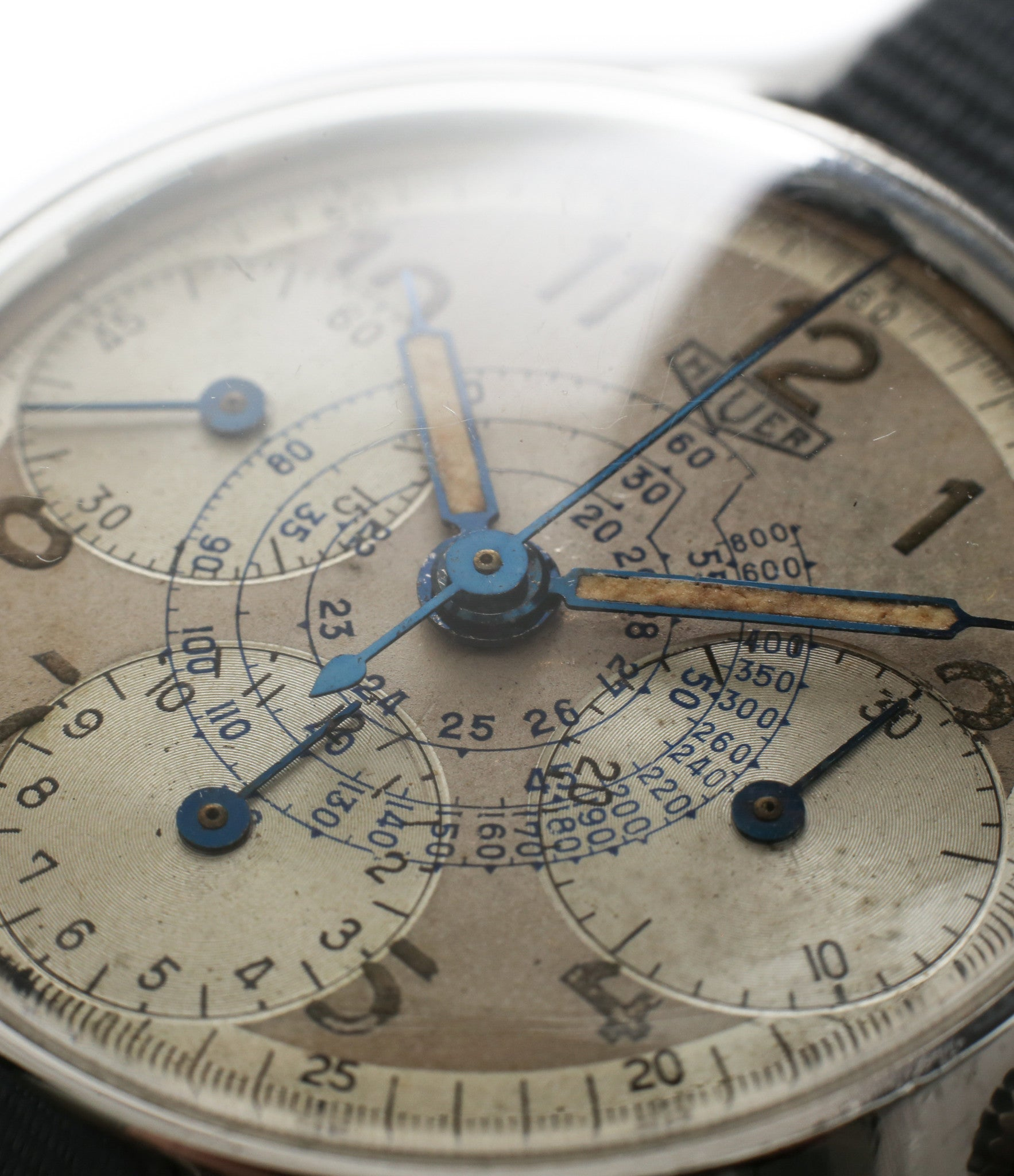 rare unrestored dial vintage Heuer Chronograph steel watch for sale online at A Collected Man London