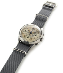 selling vintage Heuer Chronograph steel watch online at A Collected Man London
