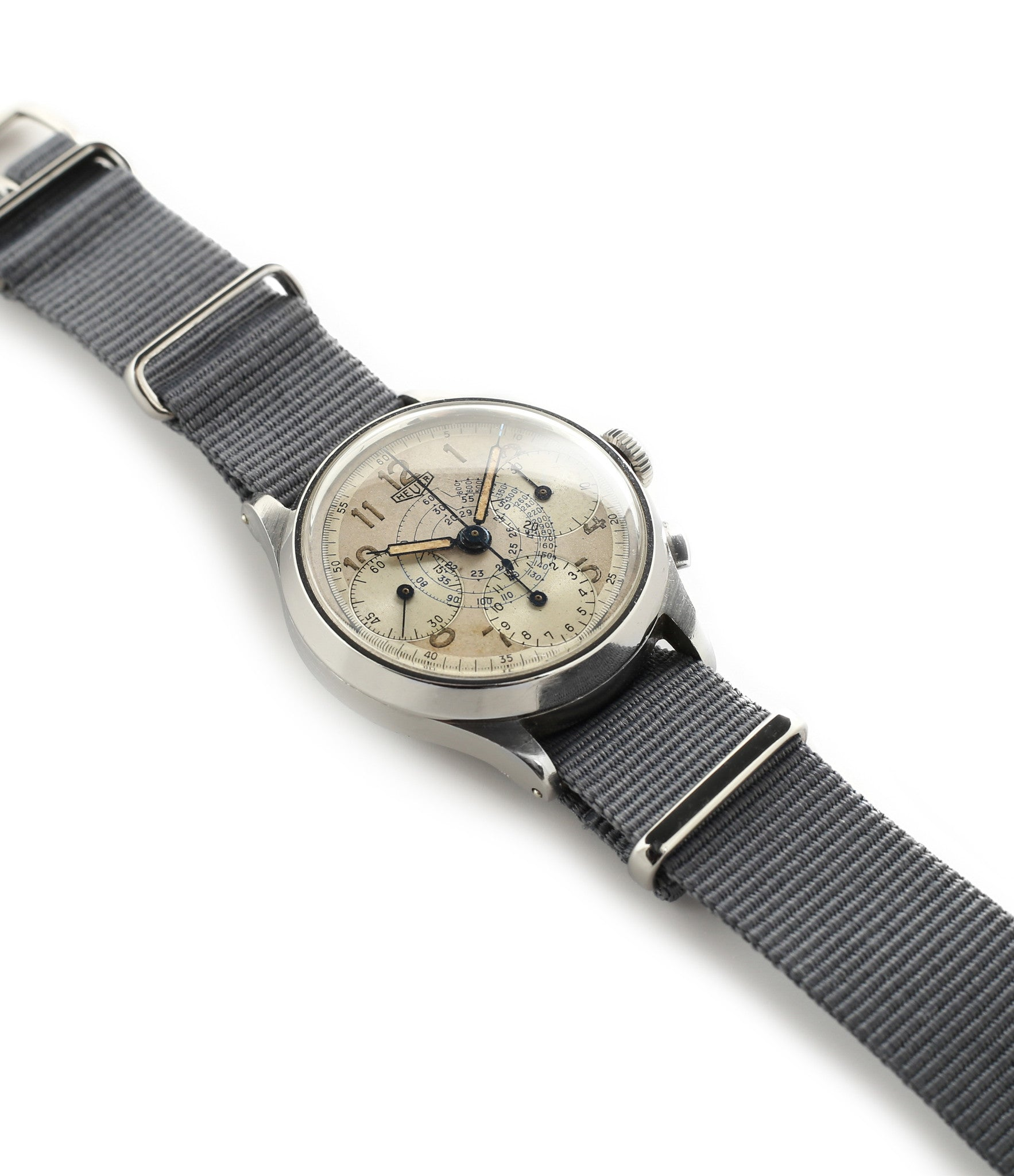 for sale vintage Heuer Chronograph steel watch online at A Collected Man London