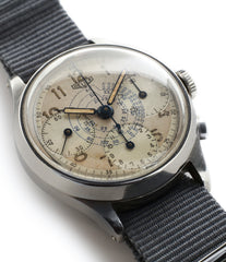 buy rare vintage Heuer Chronograph steel watch online at A Collected Man London