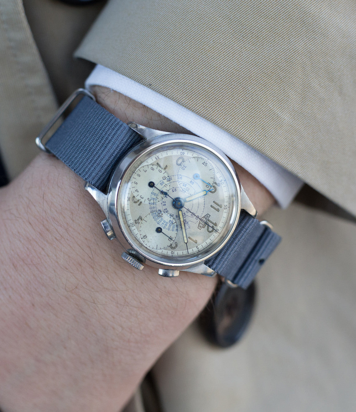 on the wrist vintage Heuer Chronograph steel watch online at A Collected Man London