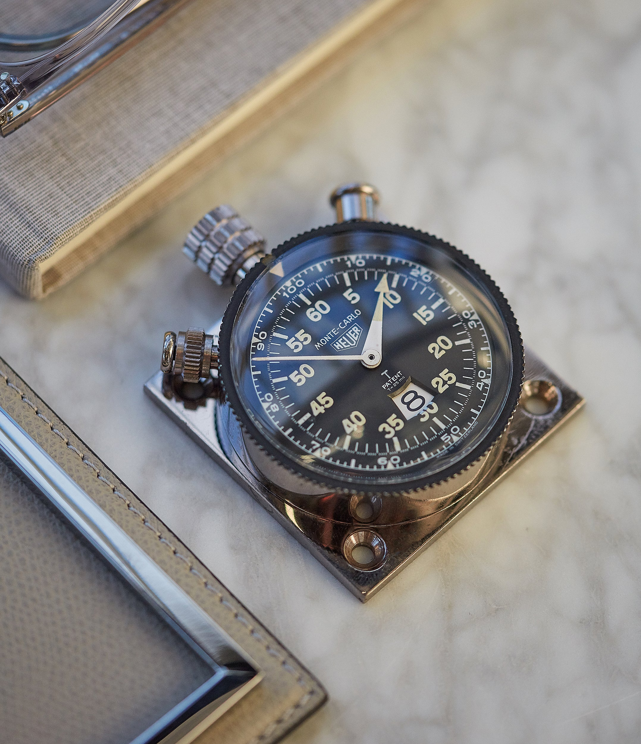 selling vintage Heuer Monte-Carlo Stopwatch Timer RAF-issued Broad Arrow chronograph for sale at A Collected Man London