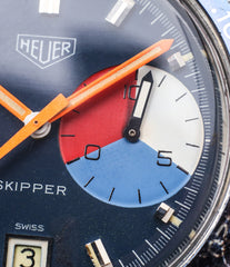 regatta dial Heuer Skipper 73464 vintage steel chronograph sport watch online at A Collected Man London online rare watch specialist