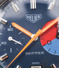 orange hands Heuer Skipper 73464 vintage steel chronograph sport watch online at A Collected Man London online rare watch specialist