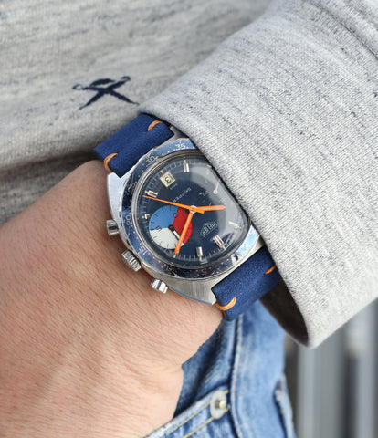 on the wrist Heuer Skipper 73464 vintage steel chronograph sport watch online at A Collected Man London online rare watch specialist