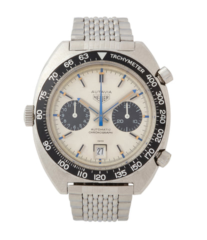 buy vintage Heuer Autavia 1163T Siffert steel chronograph watch for sale online at A Collected Man London UK specialist of rare vintage watches