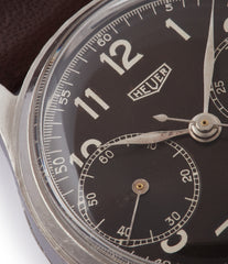 collect rare watch vintage Heuer pre-Carrera 406NR steel Landeron 13 movement watch for sale online at A Collected Man London UK rare watch specialist